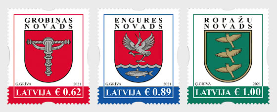 Coats of Arms of Cities & Regions of Latvia 2021 - Set