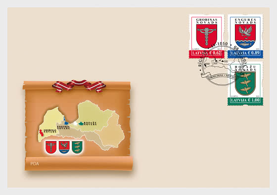 Coats of Arms of Cities & Regions of Latvia 2021 - First Day Cover