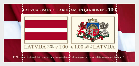 Flag and Coat of Arms of Latvia – 100 - Miniature Sheet