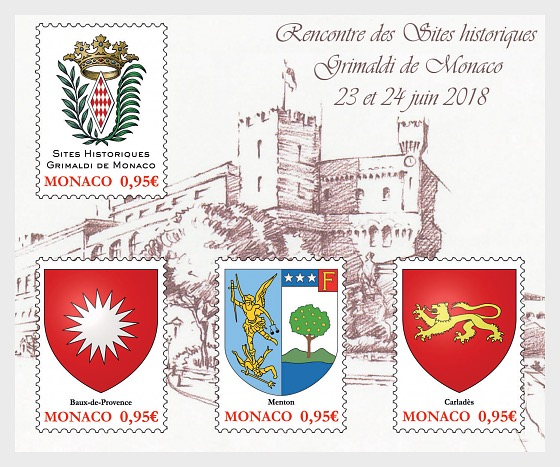 Historical Sites of the Grimaldis of Monaco - (M/S Mint) - Miniature Sheet