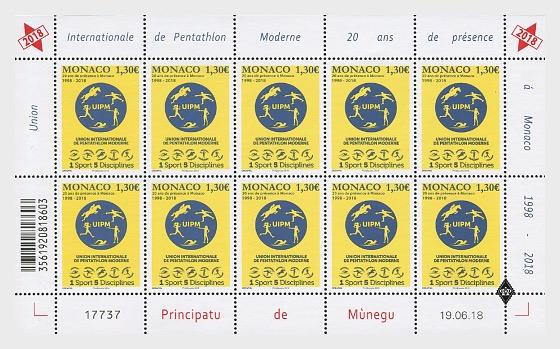 20 Years of the International Union of Modern Pentathlon in Monaco - Sheetlets