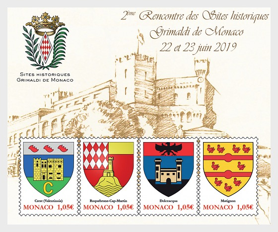 Historical Sites of the Grimaldis of Monaco - M/S CTO - Miniature Sheet CTO