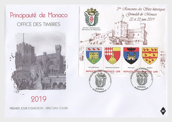 Historical Sites of the Grimaldis of Monaco - First Day Cover