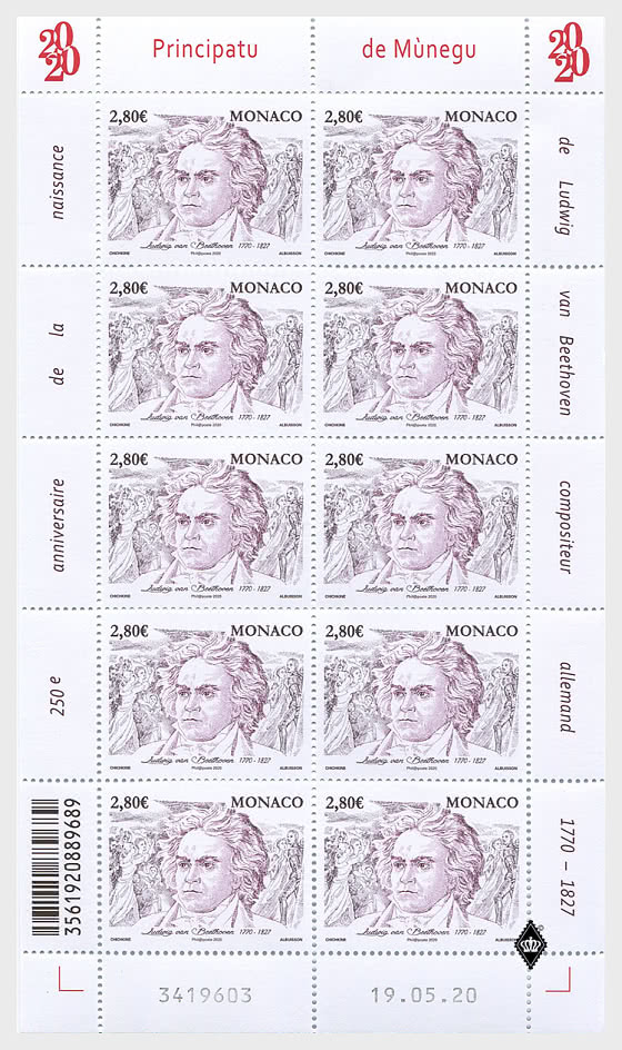 250th Anniversary of the Birth of Ludwig Van Beethoven - Sheetlets