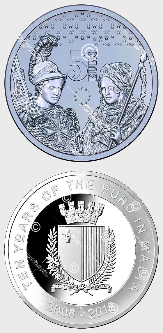 Dieci anni di euro a Malta - Commemorativo