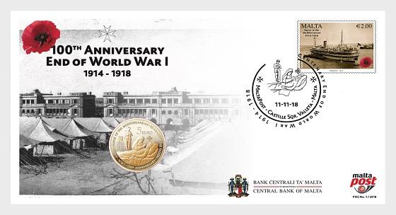 €5 First World War Centenary - Brass Coin in FDC - Commemorative