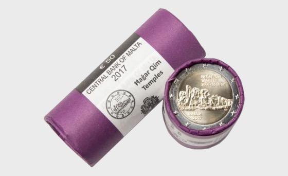 Templi Hagar Qim €2 monete (rotolo di 25) - Coin Tube