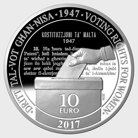 70 ° anniversario dei diritti di voto femminile - Moneta d'argento - Moneta d'argento