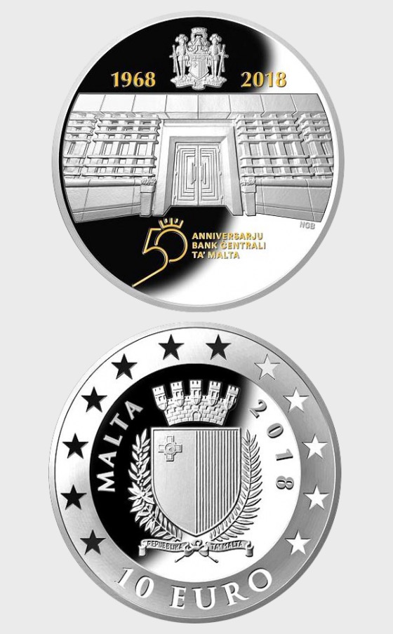 50th Anniversary of the Central Bank of Malta - Silver Coin - Silver Coin
