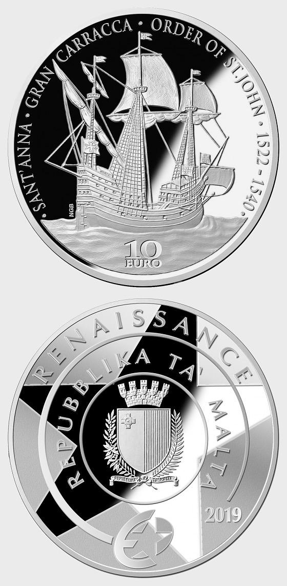Renacimiento - La Gran Carracca de la Orden de San Juan - Moneda de plata - Moneda de plata
