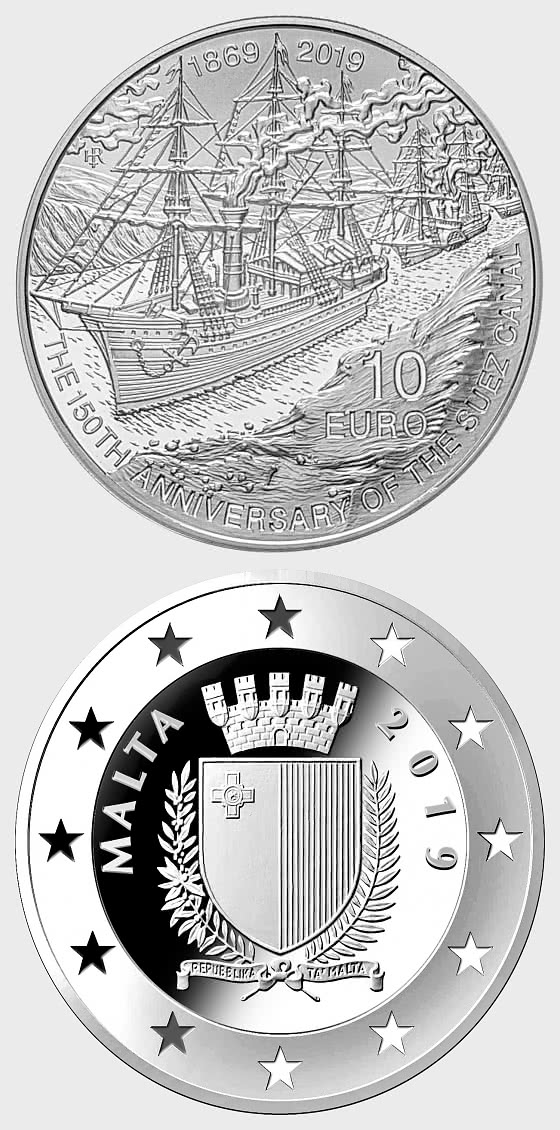 150th Anniversary of the Suez Canal (1869 -2019) Silver Proof - Silver Coin