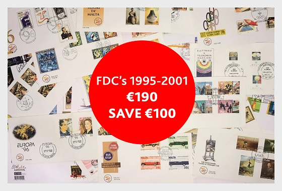 Special Offer - FDC's 1995-2001 for €190 (save €100) - First Day Cover