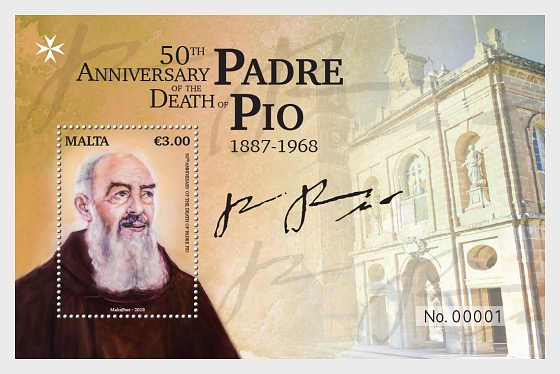 50th Anniversary Of The Death Of Padre Pio 1887-1968 - Miniature Sheet