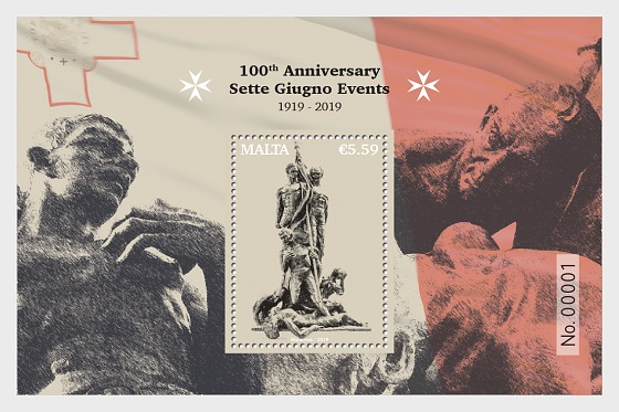 100th Anniversary Sette Giugno Events 1919 - 2019 - Miniature Sheet