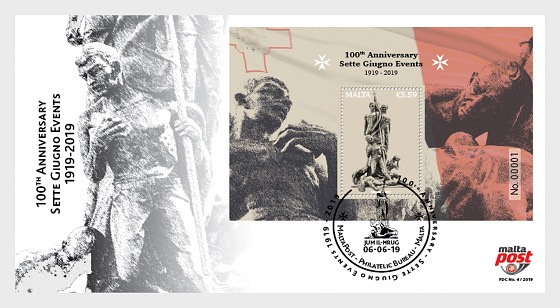 100th Anniversary Sette Giugno Events 1919 - 2019 - First Day Cover