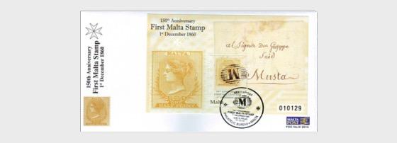 150 ° Anniversario del primo francobollo Malta - FDC