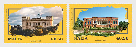 Joint Stamp Issue Malta-Romania - Architecture, Palaces - Set