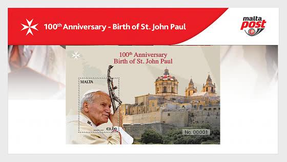 圣约翰·保罗诞辰100周年 - 邮折