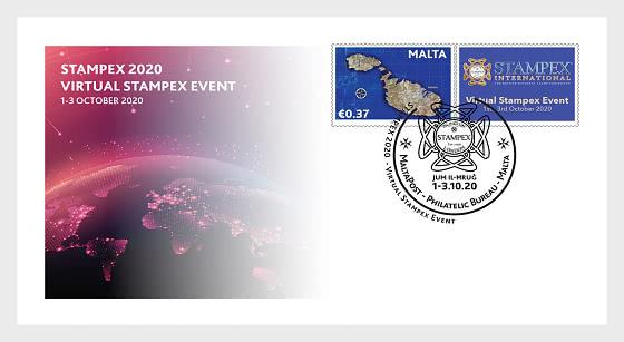 Timbre Personnalisé Virtual Stampex 2020 - Enveloppes de Premier Jour