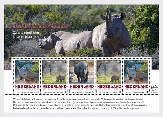 Endagered Mammals 2018 - Black Rhinoceros - Miniature Sheet