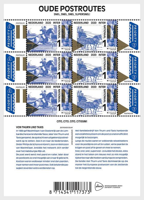 Europa 2020 - Old Postal Routes - Sheetlets