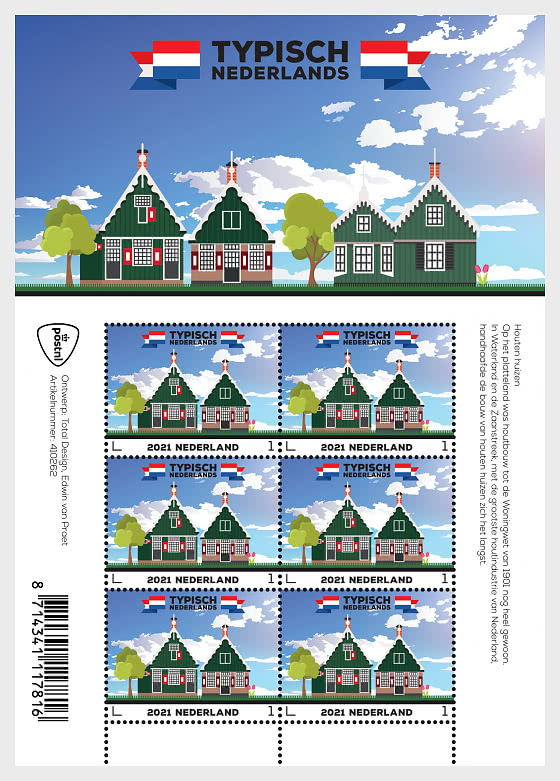 Typically Dutch – Wooden Houses - Mint - Sheetlets