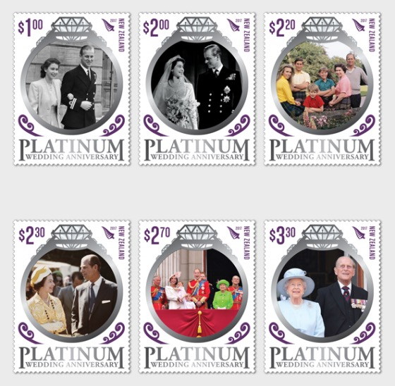 2017 Platinum Wedding Anniversary Set of Mint Stamps - Set