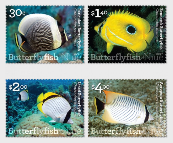 2017 Butterflyfish of Niue Set of Mint Stamps - Set