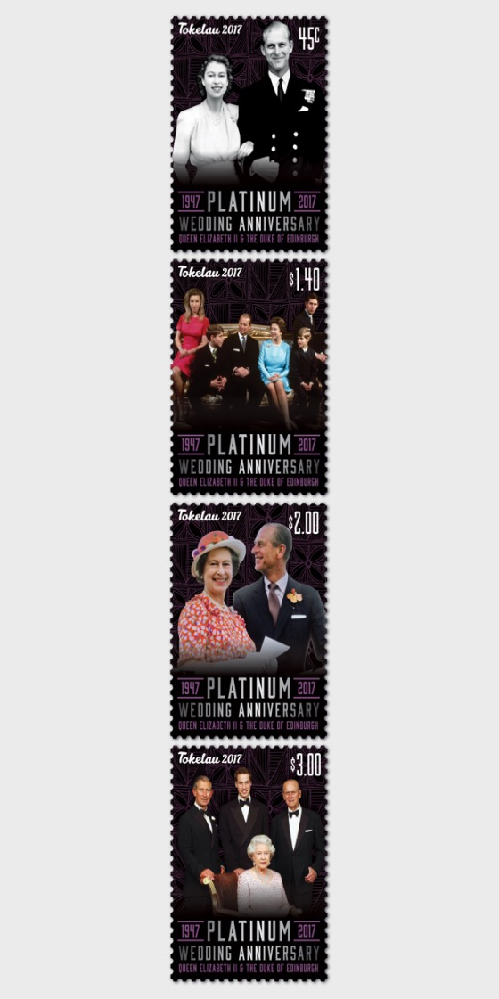 2017 Tokelau Platinum Wedding Anniversary Set of Mint Stamps - Set