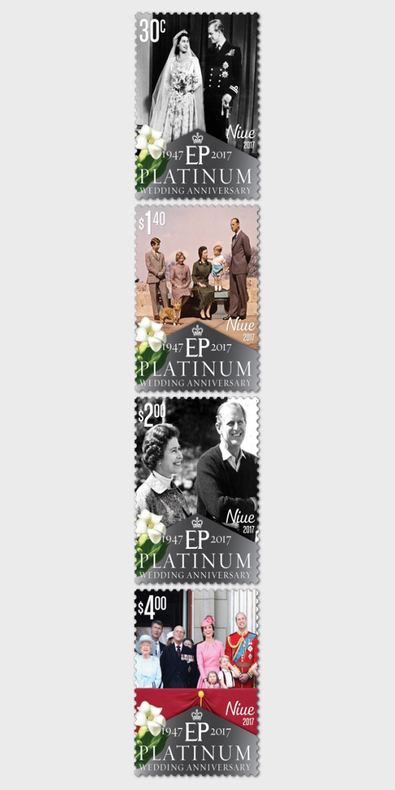 2017 Niue Platinum Wedding Anniversary Set of Mint Stamps - Set