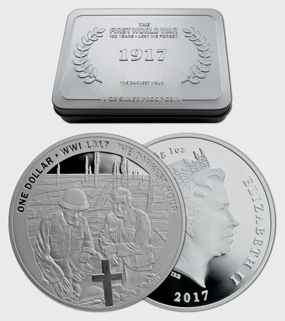 1917年最黑暗的时刻,银色的证明硬币 - 银币