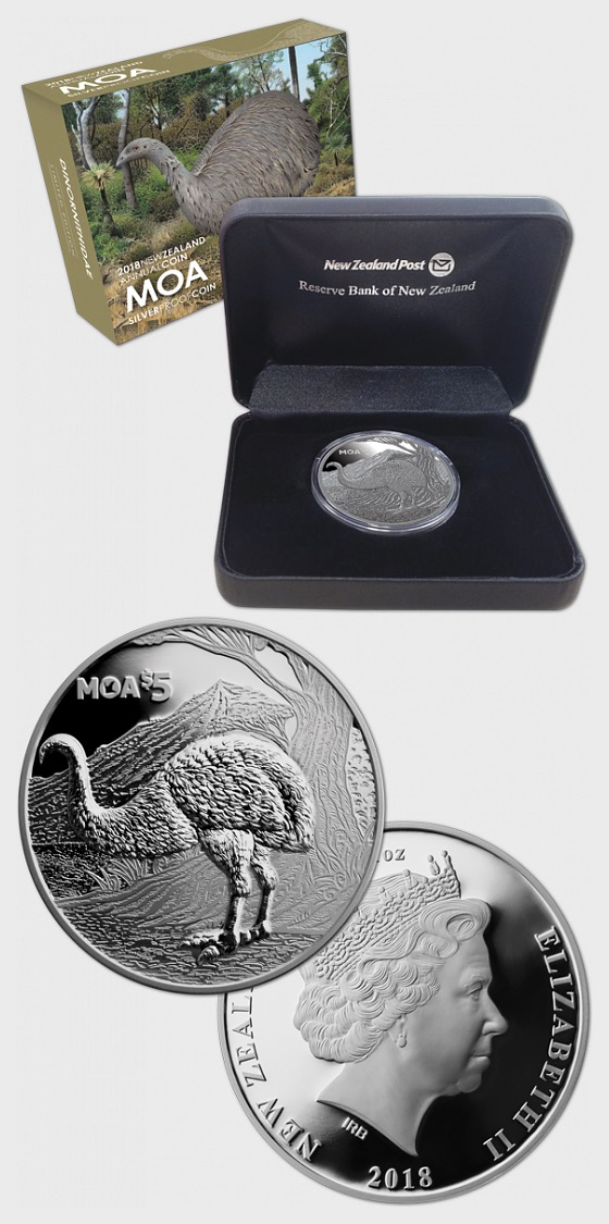 2018 New Zealand Annual Coin: Moa Silver Proof Coin - Silver Coin