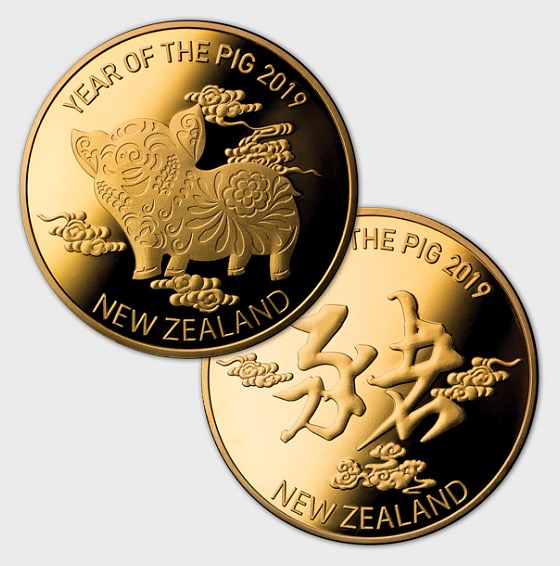 2019 Year of the Pig Gold Plated Medallion - Lunar Products (Coins)