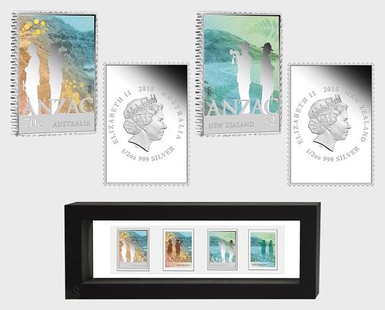 Anzac 2015 - Neuseeland und Australien Gemeinschaftsausgabe Silbermünzenset mit Briefmarken - Silbermünze