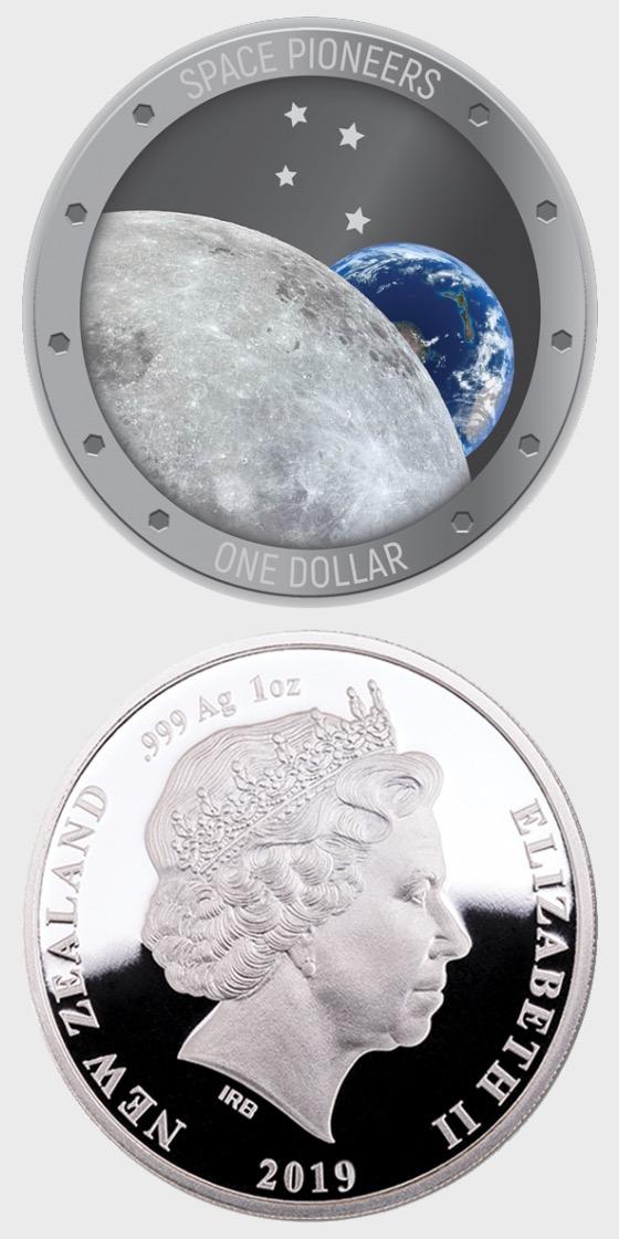 2019 New Zealand Space Pioneers Silbermunze - Silbermünze