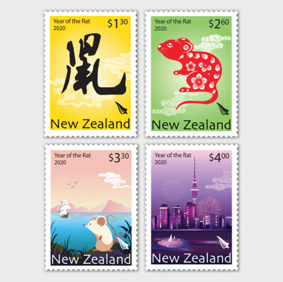 2020 Year of the Rat Set of Mint Stamps - Set