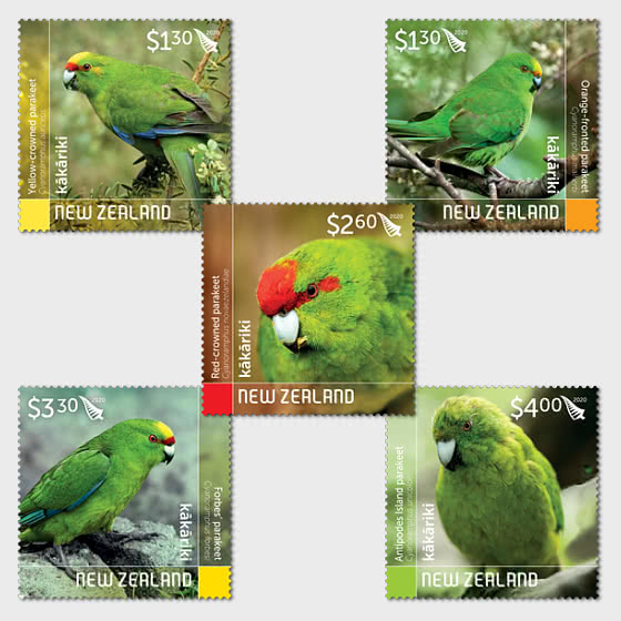 2020 Kakariki - New Zealand Parakeets Set of Mint Stamps - Set