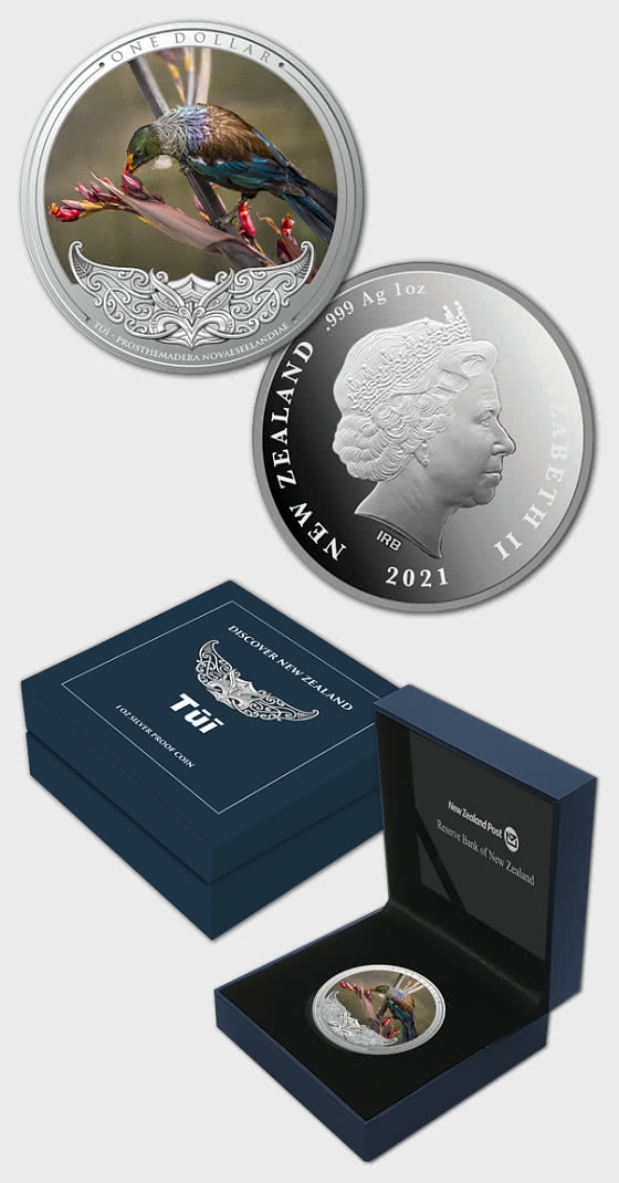 2020 Discover New Zealand - Tui Silver Proof Coin - Silver Coin