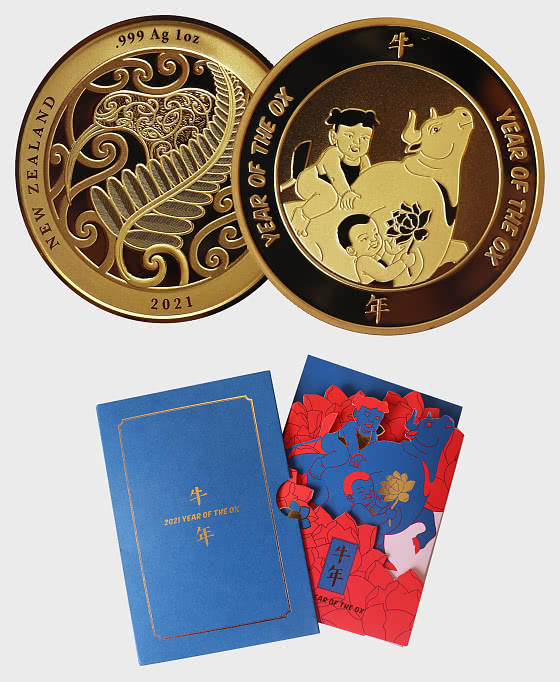 2021 Year of the Ox Gold Plated Medallion - Medal
