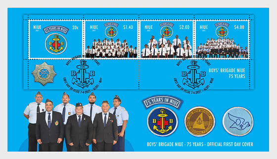 Boys' Brigade Niue - 75 Years Miniature Sheet First Day Cover - First Day Cover