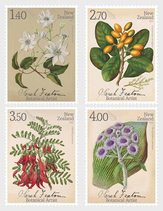 2021 Sarah Featon - Botanical Artist Set of Mint Stamps - Set