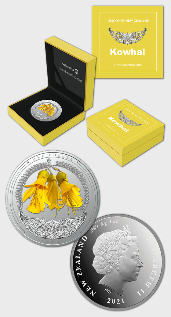 2021 Discover New Zealand - Kowhai Silver Proof Coin - Single Coin