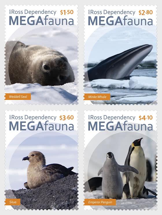 2021 Ross Dependency - Megafauna Set of Mint Stamps - Set