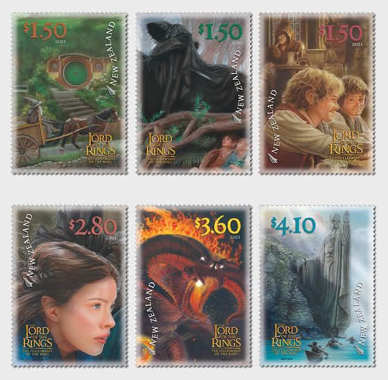 2021 The Lord of the Rings- The Fellowship of the Ring 20th Anniversary Set of Mint Stamps - Set