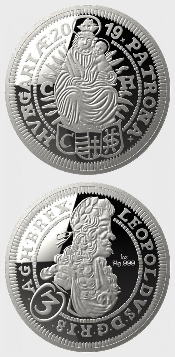 3-Kreuzer historischer Nachschlag - Silbermedaillon - Kapsel mit einer Münze - Silber Bullion