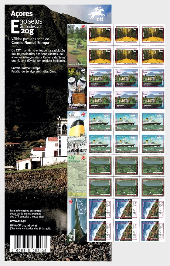 Azores Self-Adhesive Stamps - Stamp Booklet