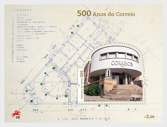 Postal Service in Portugal - 500 Years - Miniature Sheet
