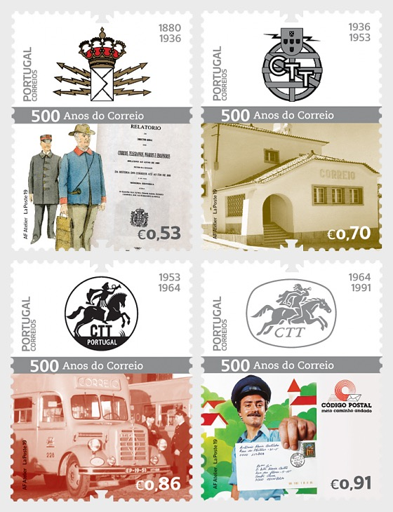 500 Years of the Postal Service in Portugal - 4th Group - Set
