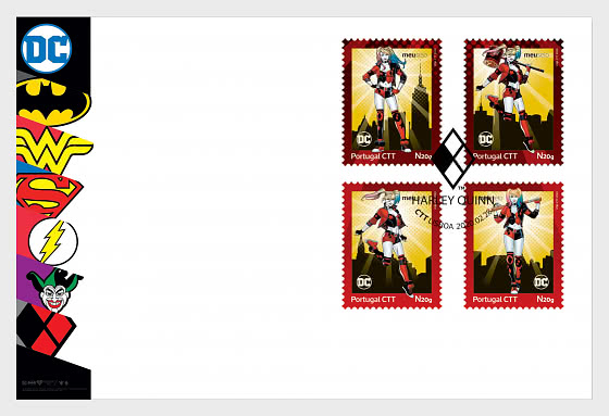 Personalized Stamps DC Comics - Harley Quinn - Special Cover with Set - First Day Cover