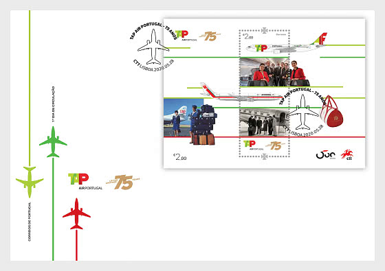 75 Years Of Tap Air Portugal - FDC M/S - First Day Cover